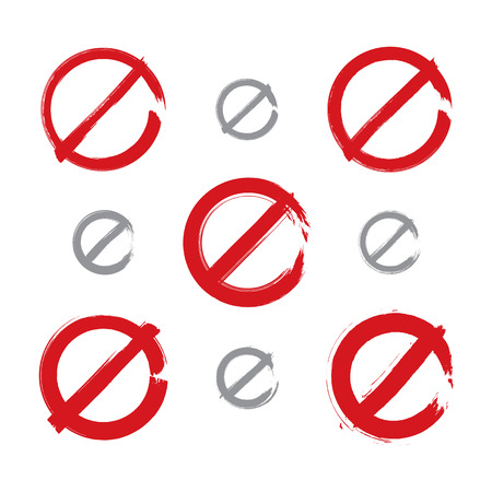 Set of hand-drawn simple vector prohibition icons, collection of brush drawing red realistic ban symbols, hand-painted prohibition sign isolated on white background.