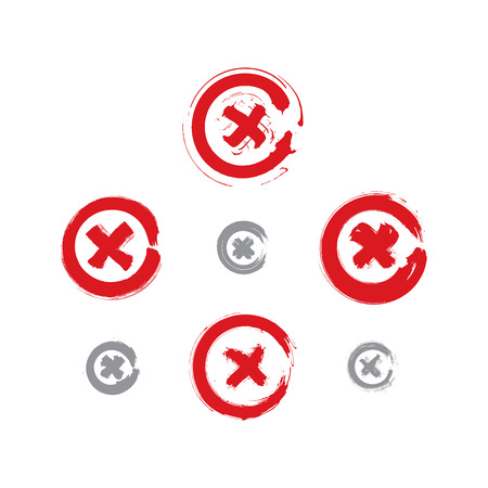 pushbuttons: Set of hand-drawn close icons scanned and vectorized, collection of brush drawing close pushbuttons, hand-painted delete symbols isolated on white background. Illustration
