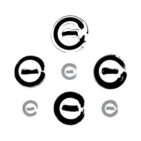 최소화: 흑백 손으로 그린 유효성 검사 아이콘과 벡터화, 브러시 드로잉 마이너스 버튼을 누르는의 수집, 흰색 배경에 고립 된 기호를 최소화 손으로 그린 집합입니다. 일러스트