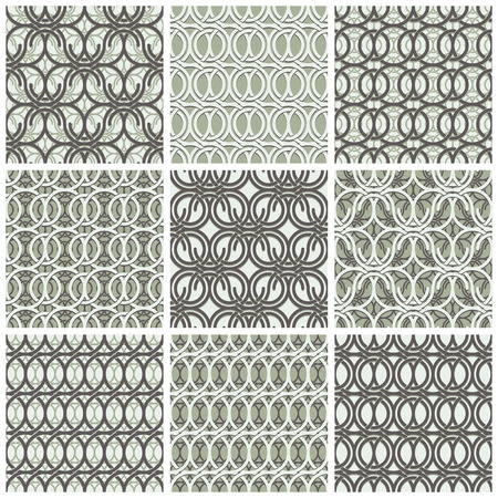 Brown and white vector intertwining circle pattern. Vector