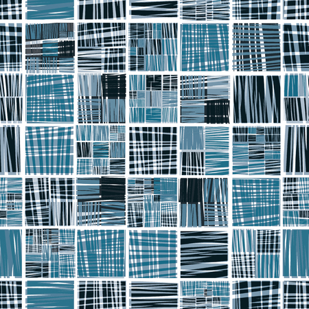 grating: Geometric scratched grating wallpaper, abstract squared seamless pattern.