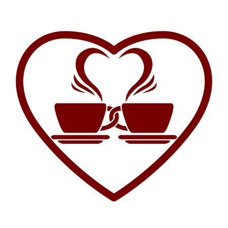 pictogramme: Dating symbol with two coffee cups and heart shape, vector icon. Illustration