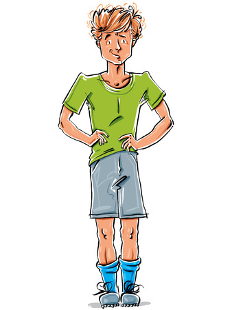skeptic: Bright vector full-length drawing of a red-haired Caucasian boy, colorful cartoon hand-drawn skeptical youngster wearing green t-shirt, shorts and sneakers, illustration of a standing kid, akimbo.
