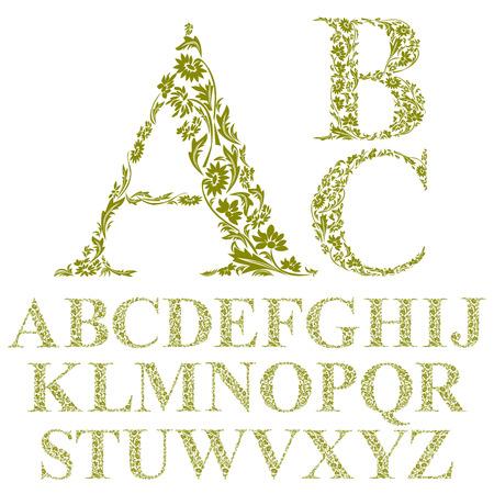 vintage: Vintage stijl bloemen brieven lettertype, vector alfabet.