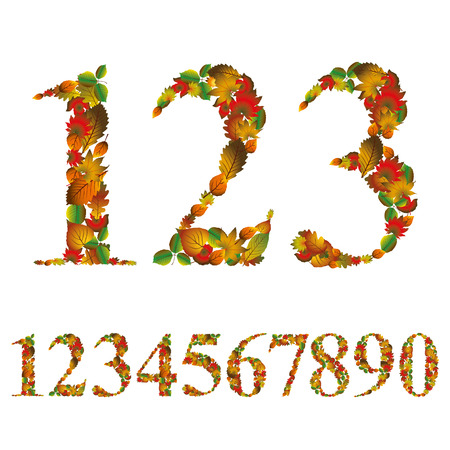 Numbers made with leaves, floral numerals set, vector design. Illustration