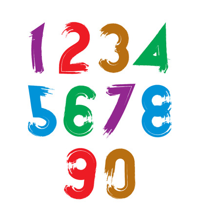 Handwritten contemporary vector digit set, doodle hand-painted smear numerals. Vector