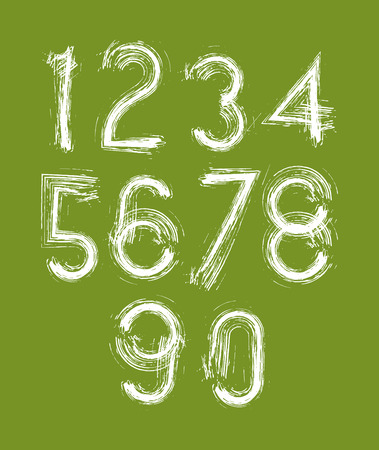 Calligraphic numbers drawn with ink brush, white vector numbers collection on green background. Vector
