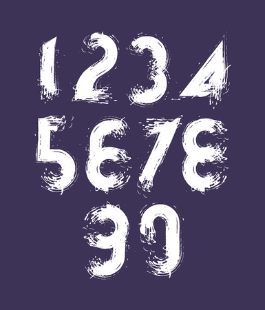 Vector stylish brush digits, handwritten numerals, white doodle numbers set on dark background. Vector