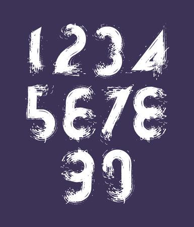 estimating: Vector stylish brush digits, handwritten numerals, white doodle numbers set on dark background. Illustration