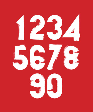 Handwritten contemporary vector digit set, doodle hand-painted numerals on red background. Vector