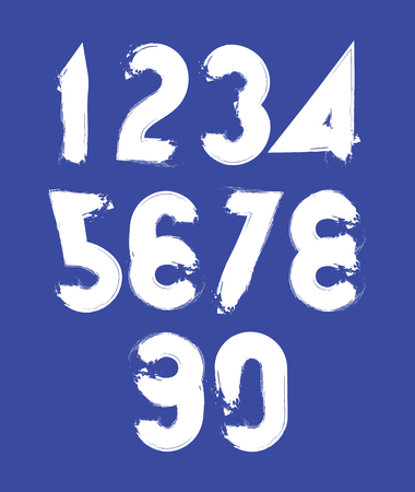 Handwritten vector numbers isolated on dark background, painted modern numbers set. Vector