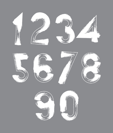 White handwritten numbers, vector doodle brushed figures, hand-painted set of numbers with brushstrokes. Vector