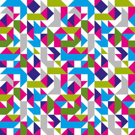 Bright seamless pattern with geometric figures, colorful mosaic textile, multicolored abstract vector book cover with squares and rectangles.