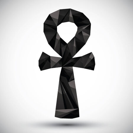 ankh: Black ankh symbol, egyptian word for life,geometric icon made in 3d modern style, best for use as symbol or design element.
