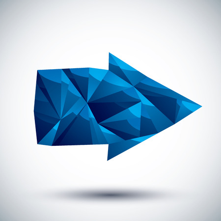Blue arrow geometric icon made in 3d modern style, best for use as symbol or design element for web or print layouts. Vector