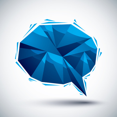 converse: Blue speech bubble geometric icon made in 3d modern style, best for use as symbol or design element.