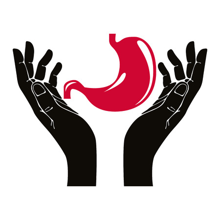 colonoscopy: Hands with human stomach vector symbol. Illustration
