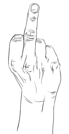 中指の手サイン、細かな黒と白のラインのベクトル イラスト、手描き。