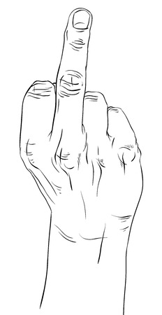 mid: Middle finger hand sign, detailed black and white lines vector illustration, hand drawn.