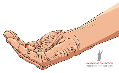begging: Begging hand, detailed vector illustration. Illustration