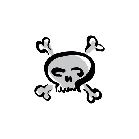 hand bones: Illustrated skull with crossing bones icon, vector hand drawn danger warning sign.