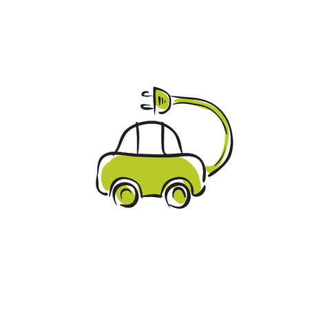 Illustrated electric car icon, vector animated electro mobile on white background. Vector
