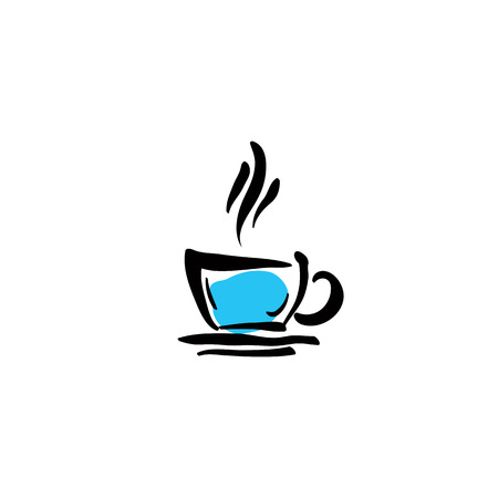 dinner date: Illustrated coffee cup icon on white background, vector illustration.