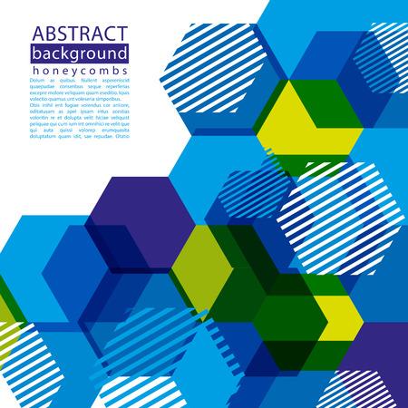 honeycomb: Panal Fondo abstracto colorido con el subtítulo y el texto, decorativo fondo geométrico, vector de fondo transparente.