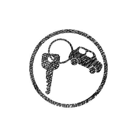simplistic icon: Car key vector simplistic icon with hand drawn lines texture.
