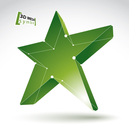 eps 8: 3d mesh green star sign isolated on white background, colorful elegant lattice superstar icon, dimensional tech pentagonal object with white connected lines, bright clear eps 8 vector illustration, pop star icon.
