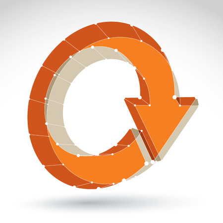 eps 8: 3d mesh stylish web update sign isolated on white background, orange elegant lattice renew icon, dimensional tech refresh symbol, bright clear eps 8 vector illustration.