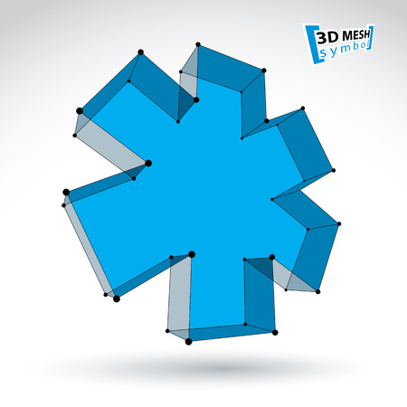 eps 8: 3d mesh web blue ambulance icon isolated on white background, colorful lattice medicine symbol, dimensional tech emergency object, clear eps 8 vector illustration, bright perspective medical cross icon.