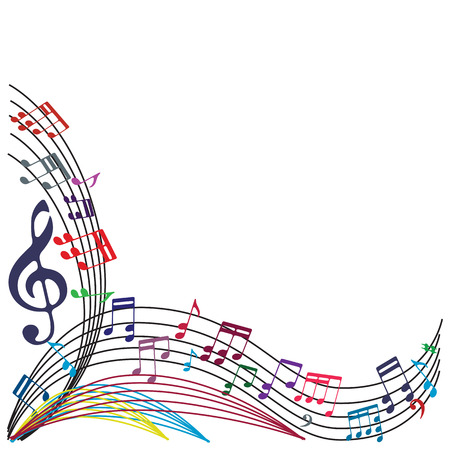 Music notes background, stylish musical theme composition, vector illustration. Vettoriali