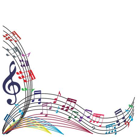 plech: Noty pozadí, stylový hudební téma složení, vektorové ilustrace.