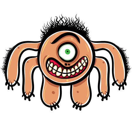 stubble: Shocked cartoon monster with one eye, black and white lines vector illustration. Illustration