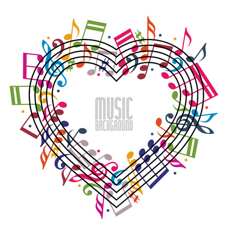 musical: Heart made with musical notes and clef, contain copy space inside for your text, music theme vector design template.