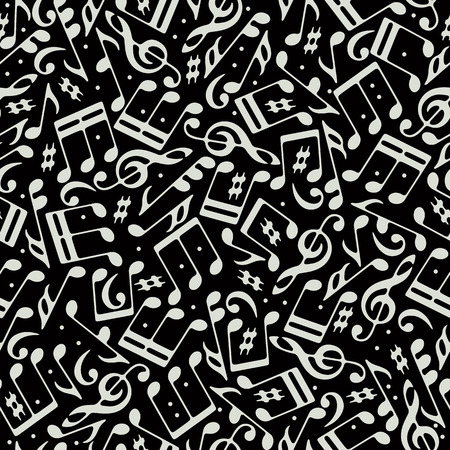 Vector white musical notes and treble clefs seamless pattern on black background. Vector
