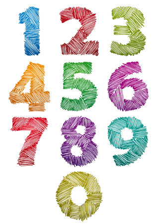 pencil symbol: Hand drawn and sketched color bold numbers set, vector childish doddle style.