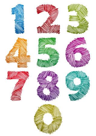 nombres: Tir� par la main et de couleur esquiss� chiffres en gras fix�, style vecteur doddle enfantin.