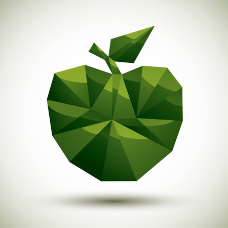 gm: Green apple geometric icon made in 3d modern style, best for use as symbol or design element for web or print layouts.