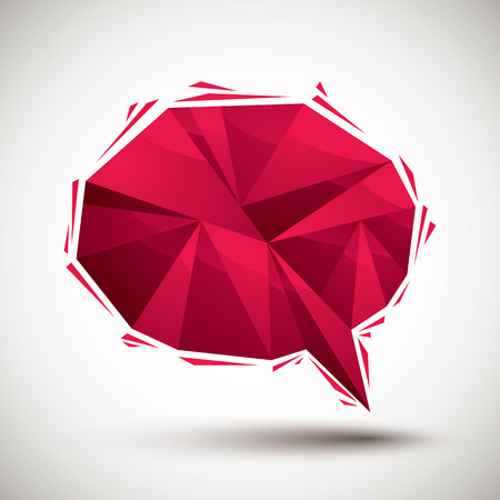converse: Red speech bubble geometric icon made in 3d modern style, best for use as symbol or design element for web or print layouts.