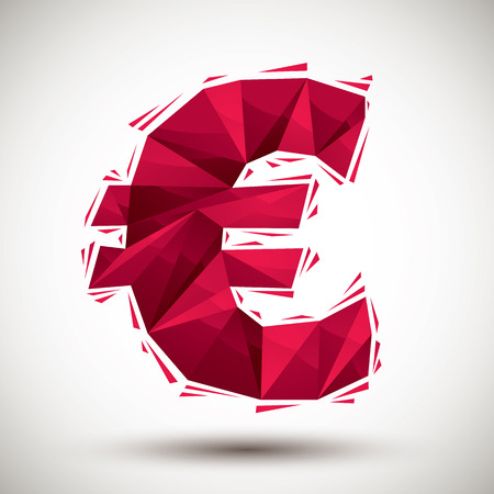 reaches: Red euro sign geometric icon made in 3d modern style, best for use as symbol or design element for web or print layouts.