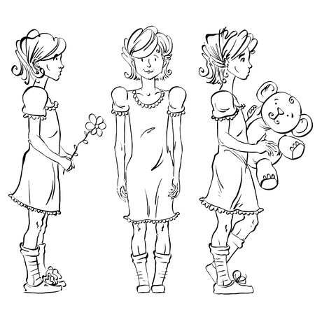adolescent: Set of vector full-length hand-drawn Caucasian teens, black and white front and side view sketch of a girl catch a butterfly, monochrome freehand illustration of standing adolescent holding a bouquet of roses, akimbo.