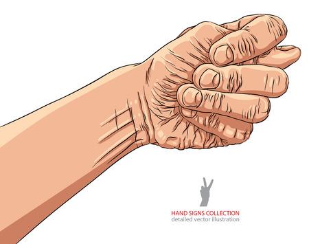 obscene: Fig fico hand sign, detailed vector illustration.