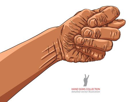 obscene gesture: Fig fico hand sign, African ethnicity, detailed vector illustration. Illustration