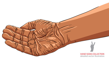 begging: Begging hand, African ethnicity, detailed vector illustration.