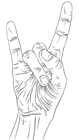 heavy metal music: Rock on mano segno, rock n roll, hard rock, heavy metal, musica, dettagliate linee in bianco e nero illustrazione vettoriale, disegnata a mano.