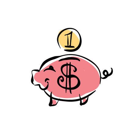 cent: Vector pink piggybank icon. Illustration