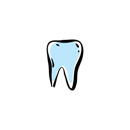 Illustrated vector tooth isolated on white background.
