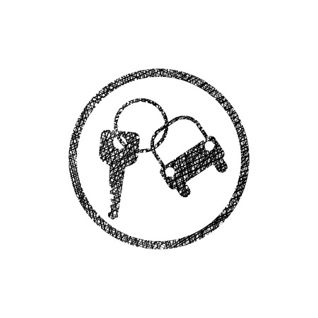Car key vector simplistic icon with hand drawn lines texture.